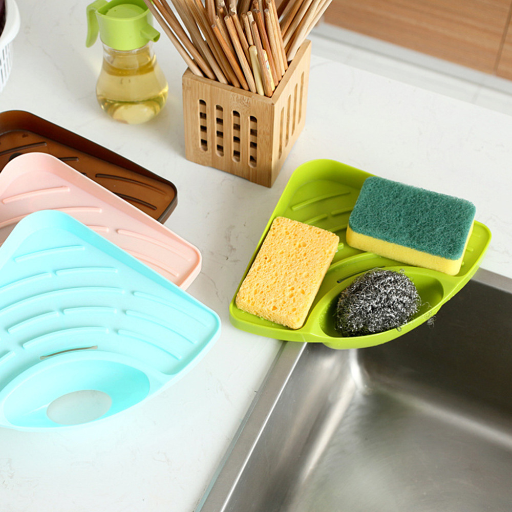 1pcs kitchen sink corner storage rack sponge holder wall mounted dishes drip rack bathroom soap dish wall storage rack in soap dishes from home improvement - Kitchen Sponge Holder