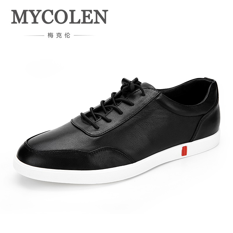 MYCOLEN 2018 Spring Autumn New Men Leather Casual Man Shoes Classic Black Daily Leisure Sneakers Lace Up Flat Heel Shoes spring autumn casual men s shoes fashion breathable white shoes men flat youth trendy sneakers