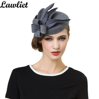 3dfdc506097 Women Fascinators Pillbox Wool Hat Gray Winter Vintage Felt Festival Party Wedding  Ladies Women Fedoras with