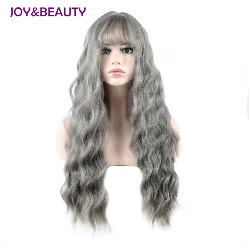 JOY&BEAUTY Ultra-thin Bangs Long Curly Wig Synthetic Wigs Gray Black Pink 26inch High Temperature Fiber Women Wig