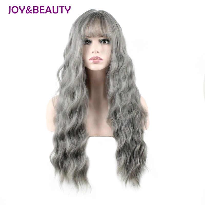 JOY & GÜZELLIK Ultra ince patlama Uzun Kıvırcık Peruk Sentetik Peruk gri Siyah Pembe 26 inç Yüksek Sıcaklık Fiber kadın peruk