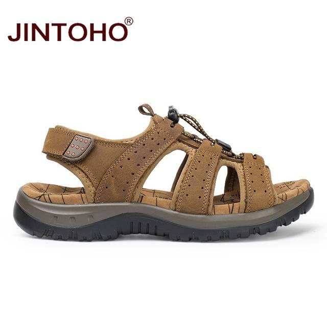 761613d65ec22 placeholder JINTOHO 2018 New Summer Men Beach Shoes Fashion Male Sandals  Genuine Leather Men Sandals Designer Beach