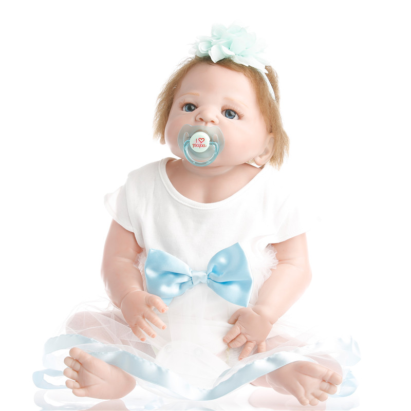 SanyDoll 22 inch 55 cm Silicone reborn dolls, white Blue Princess dress, lovely doll, holiday gift