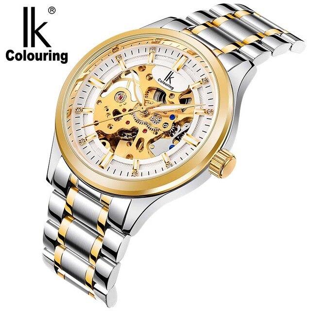 67f45df9f83 Luxo Ik Colouring Homens relógio Esqueleto Mecânico Automático relógio de  Pulso Banda de Aço Inoxidável Relógio