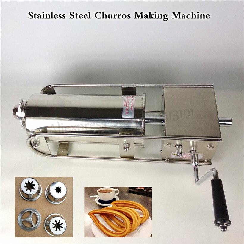 Horizontal 7L Stainless Steel Sausage Syringe Machine Manual Sausage Stuffer Spanish Churros Maker Churro Filling Machine