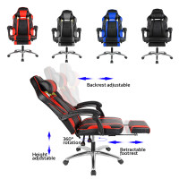 New Racing Gaming Office Chair Swivel Computer Chair Adjustable Lifting Desk Chair PU Leather Recline Backrest With Footrest HWC