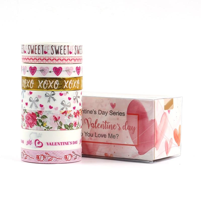 8 Pcs/lot Kawaii Valentine's Day Series Masking Washi Tape Decorative Gold Adhesive Tape Decora Diy Scrapbooking Sticker Label
