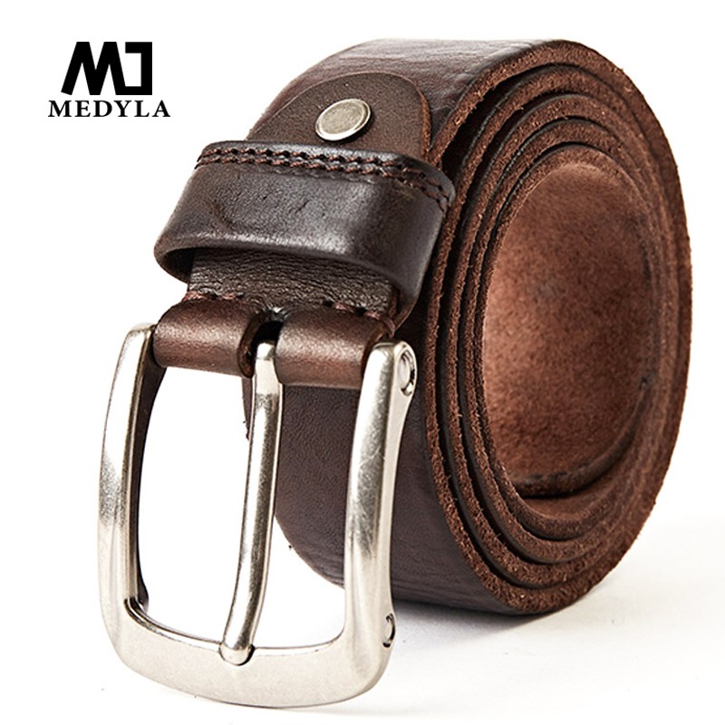 MEDYLA New fashion luxury leather belts for men, Vintage Top Full Grain Genuine Leather Strap For Cowboys Jeans Waistband