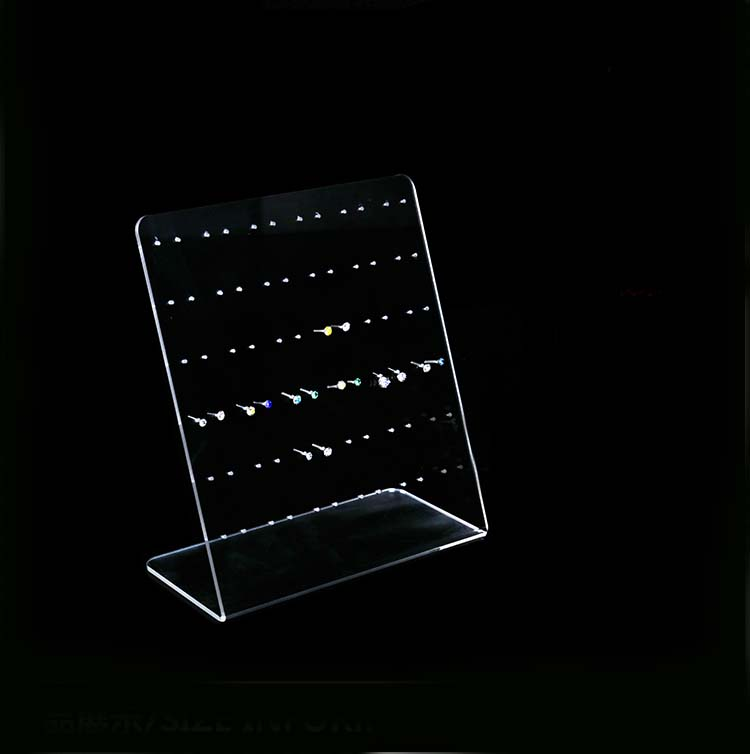 Acrylic Clear Jewellery Ear Studs Earring Display Stand Holder Slanted Show Rack 72 Holes