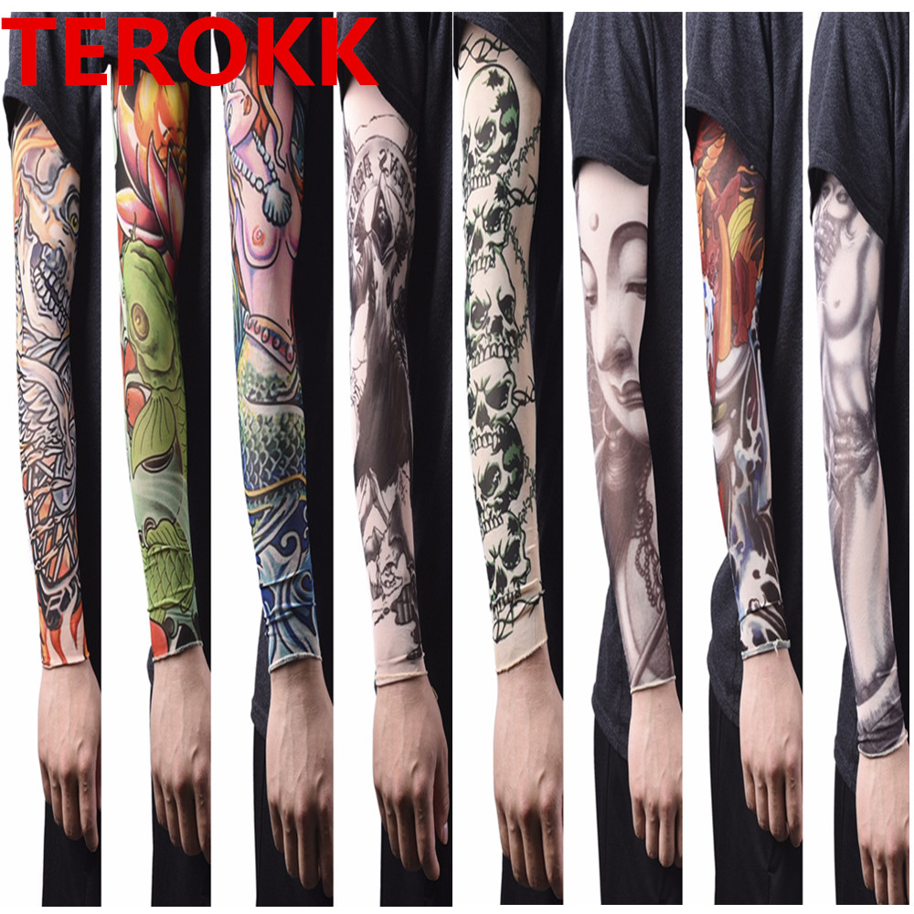 1pc Tatoo Arm Stockings For Men Women Arm Warmer Cover 46*11*6cm Elastic Fake Temporary Tattoo Sleeves Nylon To Be Renowned Both At Home And Abroad For Exquisite Workmanship Men's Arm Warmers Skillful Knitting And Elegant Design