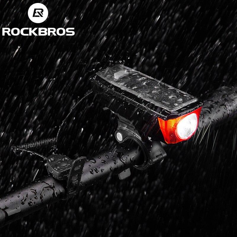 ROCKBROS IPX4 Водонепроницаемый фонари велосипедные 2000 мАч USB солнечная зарядка велосипед света велосипед колокол 120 dB Smart коммутатор несколько р...