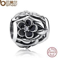 Bamoer 925 sterling silver charm fit original pulsera mystic calado floral pas149 curvas que fluyen clear cz y esmalte negro