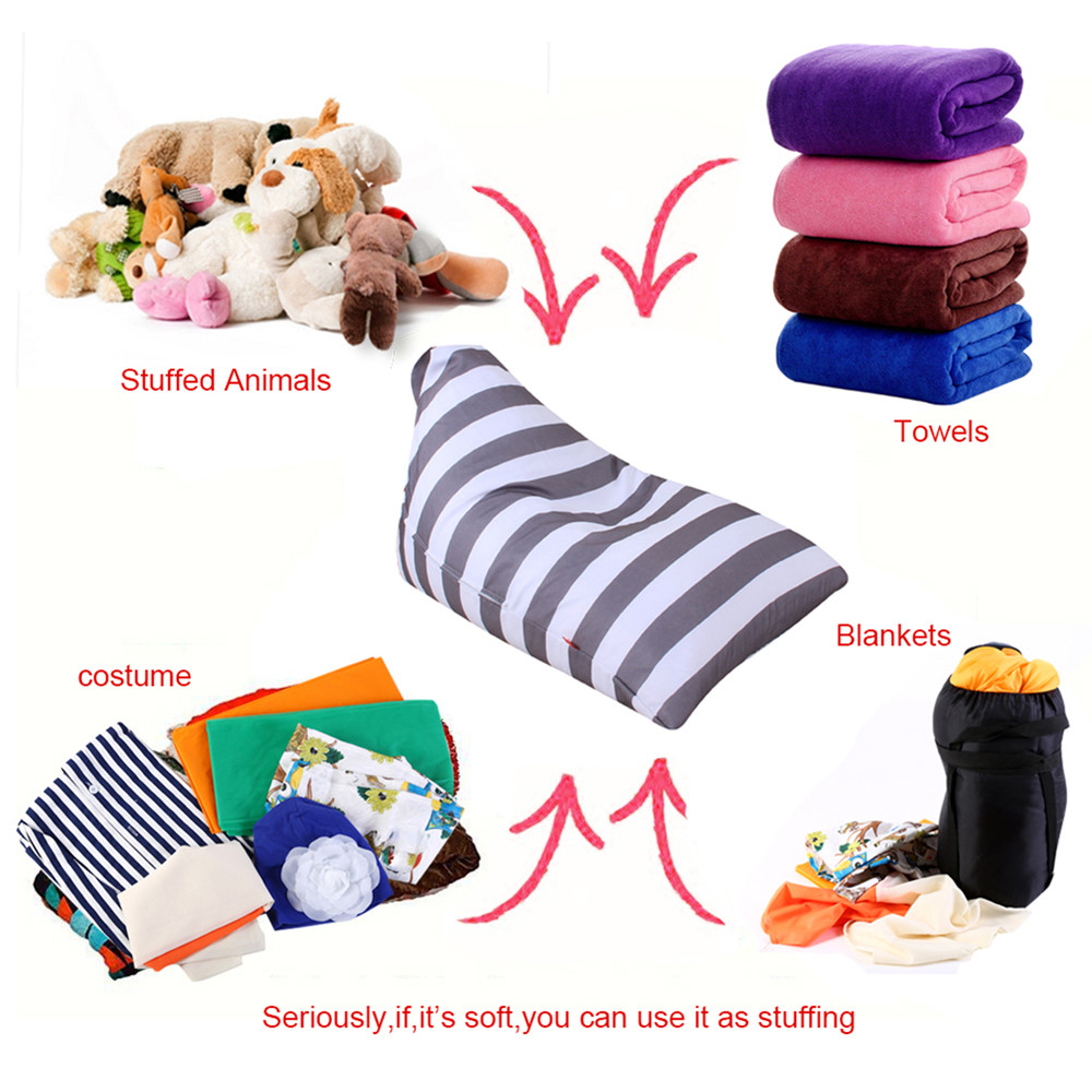 High Quality Home Storage Boxes Kids Stuffed Animal Plush Toy Storage Bean Bag Soft Pouch Stripe Fabric Chair Containers A75 ...