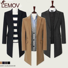 LEMOV Mens Trench Coat Turn Down Collar Long Sleeve Man Cardigan Outerwear Windbreaker Casual Slim Fit Business Clothes