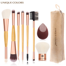 8Pcs Makeup Brush Set Double Head Brush Powder Blush Eye Shadow Eyebrow Brush Kabuki Brush Soft Makeup Sponge Cosmetic Tool Kit sponge brush head black