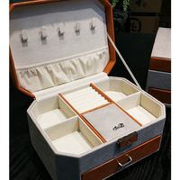 Free Shipping Retail HIGH QUALITY Carrying Case For Jewelry PU Velvet Wedding Storage Box Jewellery Accessories