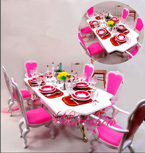 Pink White Dining Table Set Dollhouse Room Furniture Saucer Chair Accessories For Barbie