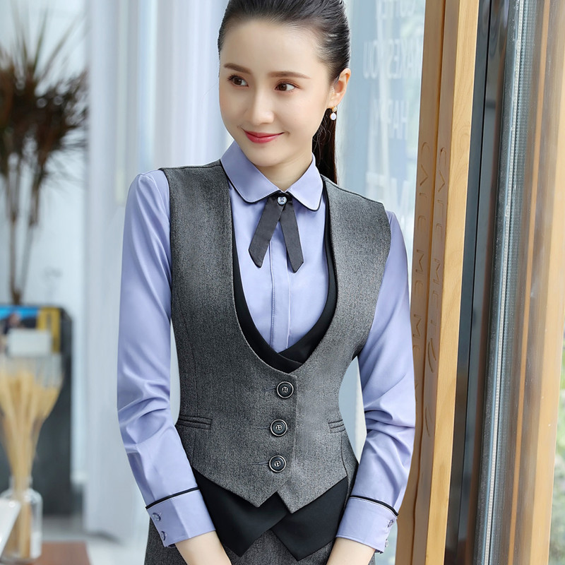 cca87a440 Autumn New professional Vests women 2018 Fashion temperament Vest tops  formal business interview plus size work wear black gray-in Vests &  Waistcoats from ...
