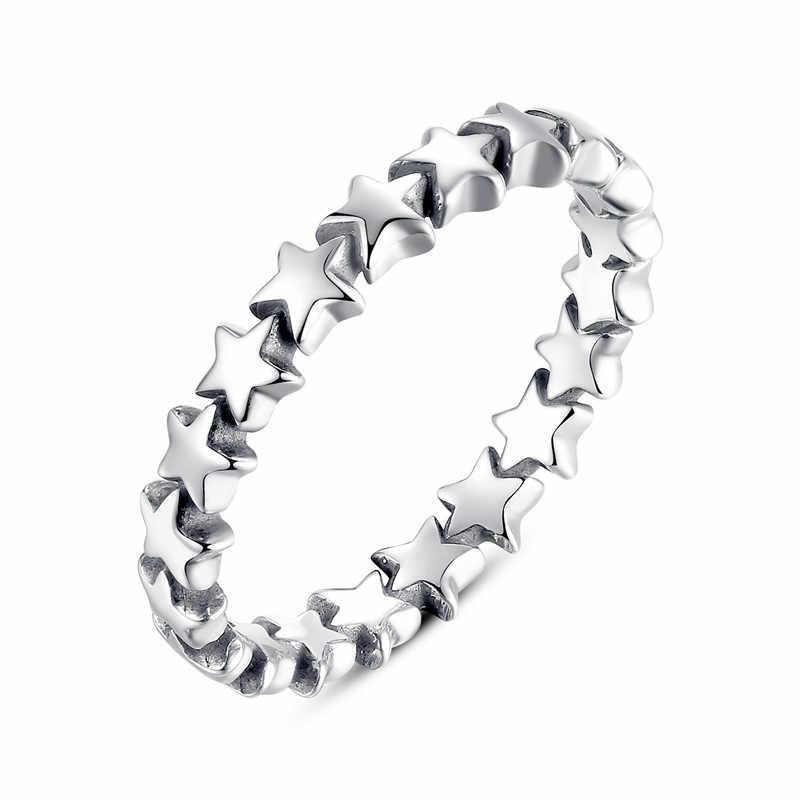WOSTU Горячая продажа 925 стерлингового серебра 9 видов стилей стекируемые вечерние палец кольцо для женщин Оригинальное ювелирное изделие из драгоценных камней подарок FB7151
