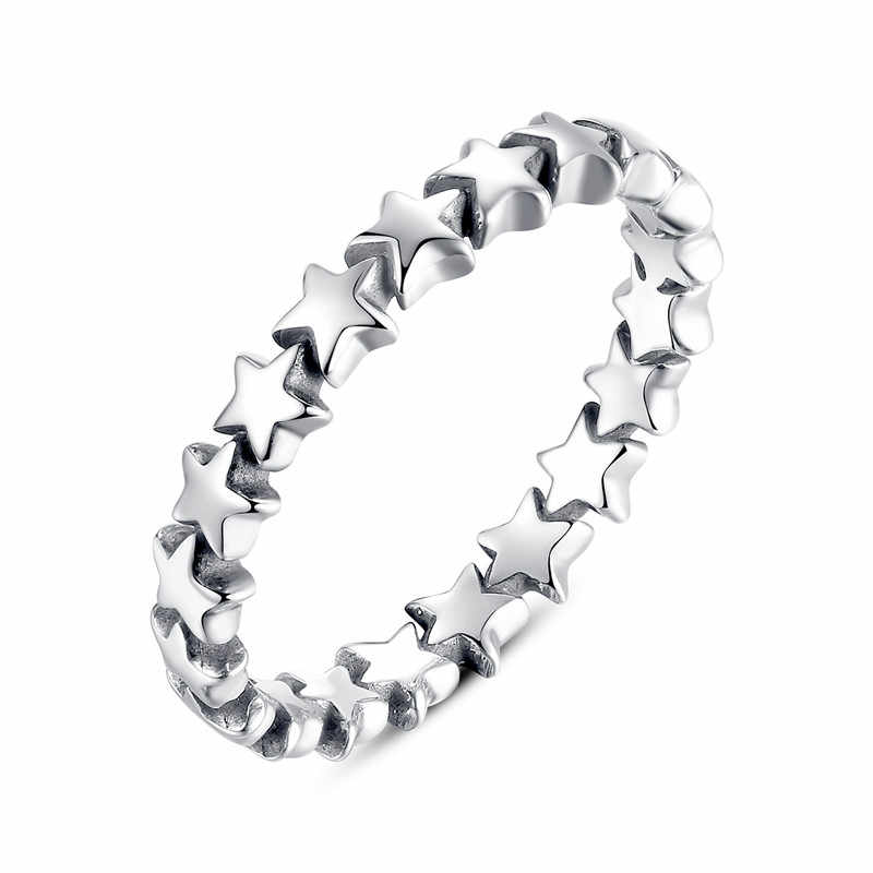 WOSTU Hot Sale 925 Sterling Silver 9 Styles Stackable Party Finger Ring For Women Original Fine Jewelry Gift FB7151