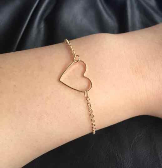 La005 2019 Модная элегантная женская обувь в простом стиле золотого и серебряного цвета из сплава, в форме сердца браслет женский шарм, ювелирное изделие, подарок