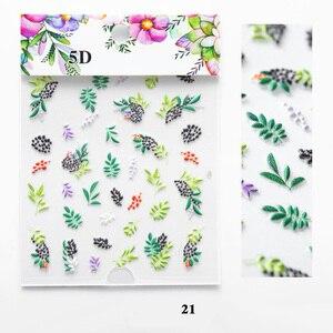 Image 4 - 5D Acryl Gravierte nagel kunst aufkleber bunte blumen blätter Vorlage Decals Werkzeug DIY Nagel Dekoration Werkzeuge Z0133
