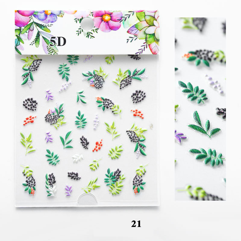 Image 4 - 5D Acrylic Engraved nail art sticker colorful  flowers leaves Template Decals Tool DIY Nail Decoration Tools Z0133-in Stickers & Decals from Beauty & Health