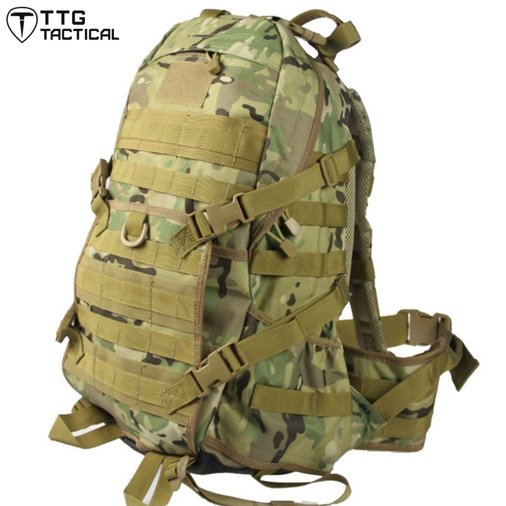 TTGTACTICAL 36L Large Capacity Assault Backpack Water Repellent Camouflage MOLLE Backpack Military Combat Backpack Black / TAN 35l waterproof tactical backpack military multifunction high capacity hike camouflage travel backpack mochila molle system