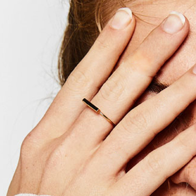 Anéis de 925 anéis de prata esterlina para mulheres Geométrica Vara Simples Três Tamanho Duas Cores Nova Chegada Jóias Da Moda Casamento