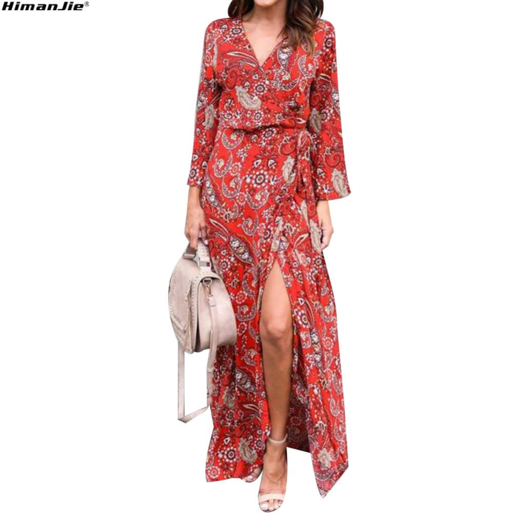 Для женщин летнее платье с v-образным вырезом с длинным рукавом бежевый платья шифон Цветочный принт длинное платье Вечеринка элегантные дл...