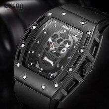 Baogela Мужские Силиконовые аналоговые кварцевые часы модные военные водонепроницаемые наручные часы с скелетом для мужчин 1612 розовое золото