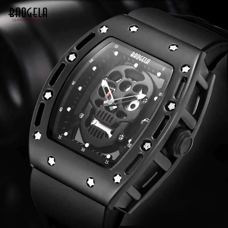 Baogela Herren Silikon Analoge Quarz Uhren Mode Military Wateproof Skeleton Armbanduhr für Mann 1612 Rose Gold