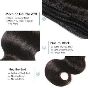 Mechones de onda del cuerpo peruano con el cierre pelo humano 100% pre-desplumado 3 mechones con el cierre del cordón pelo Remy negro Natural de Asteria