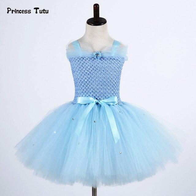 d5edc53818cdd Robe fille Elsa bleu clair princesse Tulle robe enfants mariage fête d  anniversaire Tutu robe