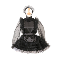 Locking Sissy Maid Satin Organza Dress Cosplay Costume Puffy Style