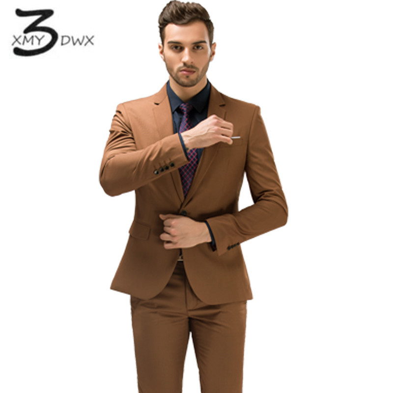 XMY3DWX (jackets+Vest+pants) Men's pure cotton Suitable for the wedding groom dress suit/Male slim Fit business BLAZERS jackets
