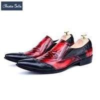 Christia Bella Fashion Red Black Patchwork Genuine Leather Italian Men Shoes Slip on Business Wedding Men Dress Shoes Plus Size