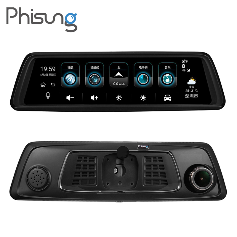 Phisung V9 9.88 IPS Écran 4g WiFi Vue Arrière de Voiture Miroir DVR 4 Caméra 1296 p HD Bluetooth GPS Navigation Dash Cam Video Recorder