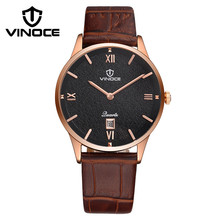 Fashion simple stylish Top Luxury brand VINOCE Watches men Leather band Quartz-watch Date Clock man relogio