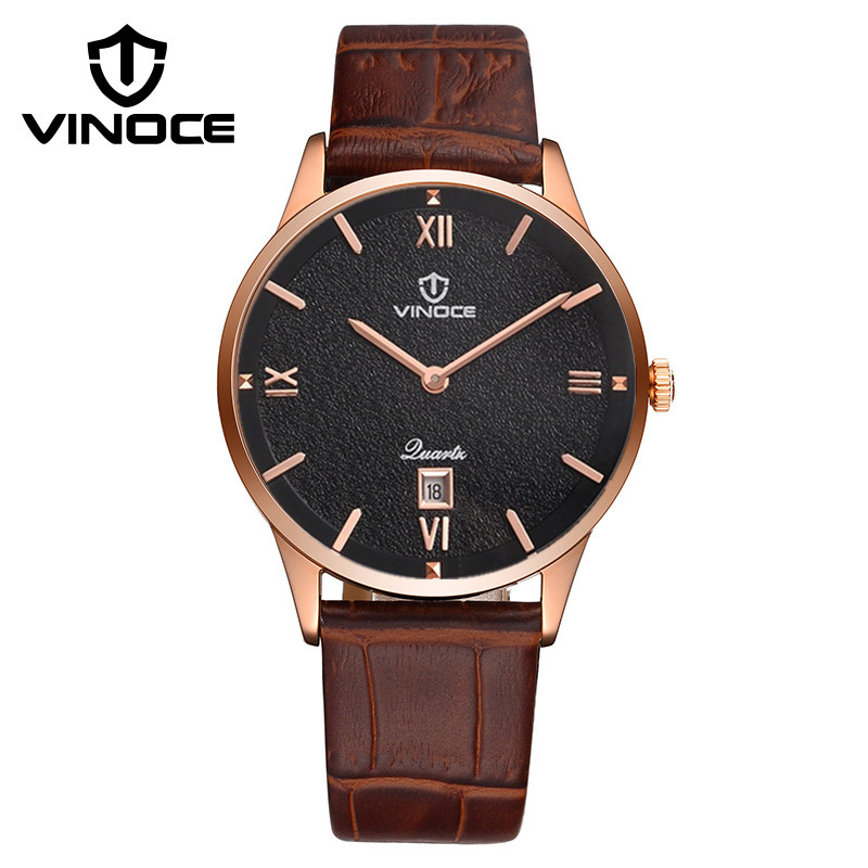Fashion simple stylish Top Luxury brand VINOCE Watches men Leather band Quartz-watch Date Clock man relogio classic simple star women watch men top famous luxury brand quartz watch leather student watches for loves relogio feminino