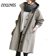 Plus size 2016 autumn winter trench coat for women long cotton hooded solid Long Sleeve Coat loose Warm Coat