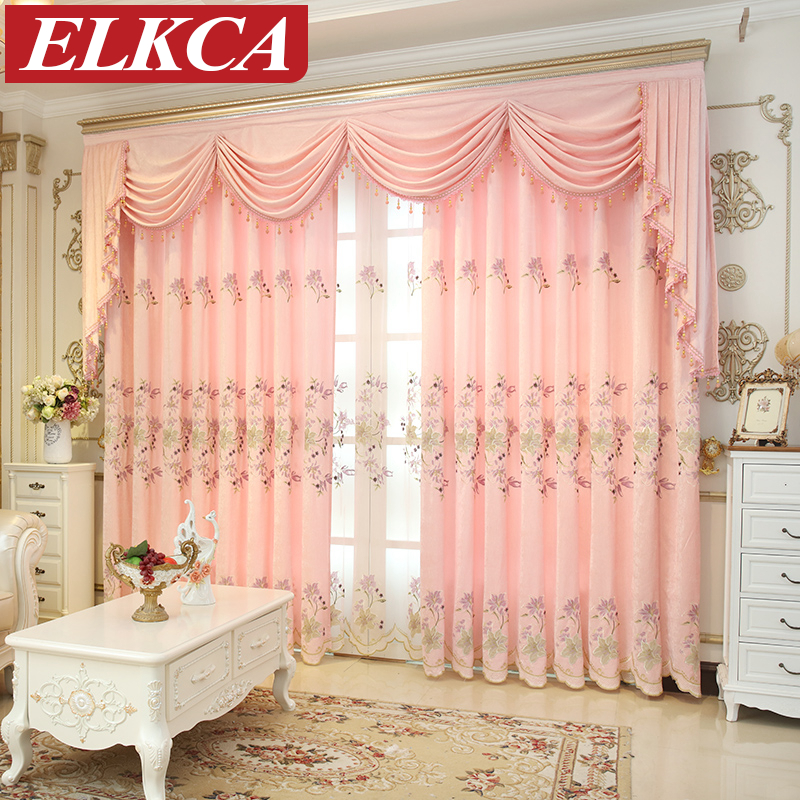 Princess Girls Room Valance Cutains Amazom: Lily Embroidered Pink Chenille Curtains For Living Room
