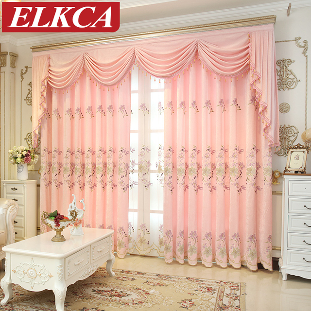 Lily Embroidered Pink Chenille Curtains For Living Room Thick Princess  Curtains For Girl Room Luxury Window