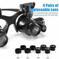 Lupe Mit Licht 10X, 15X, 20X, 25X Vergrößerungs Augen Brille Lupe Objektiv Juwelier Uhrmacher LED Licht DIY Reparatur Werkzeuge