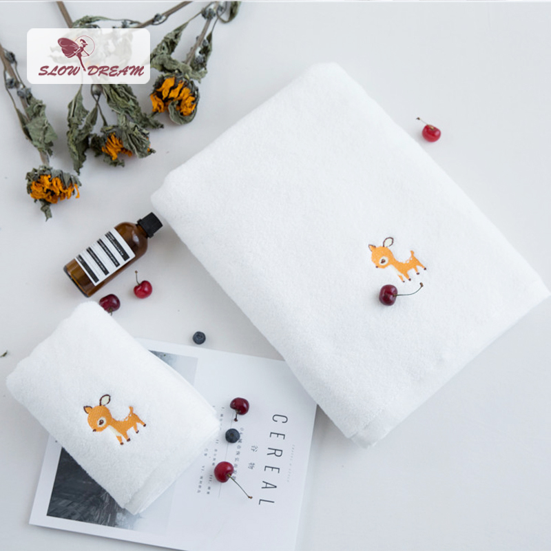 Face Towel Dream Meaning: Slowdream Nordic Simple Life Deer 100 % Cotton White Towel
