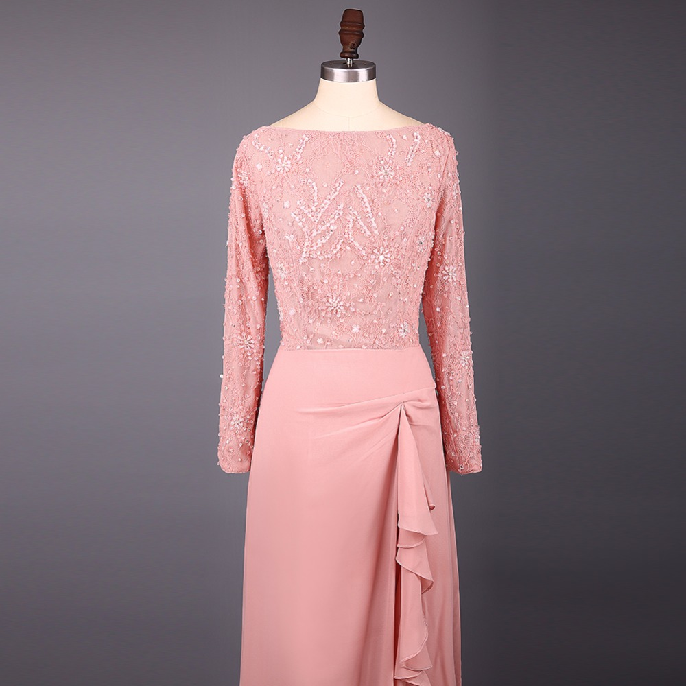 Elegante Pfirsich Scoop Neck Chiffon Mantel Lange Brautjungfer ...