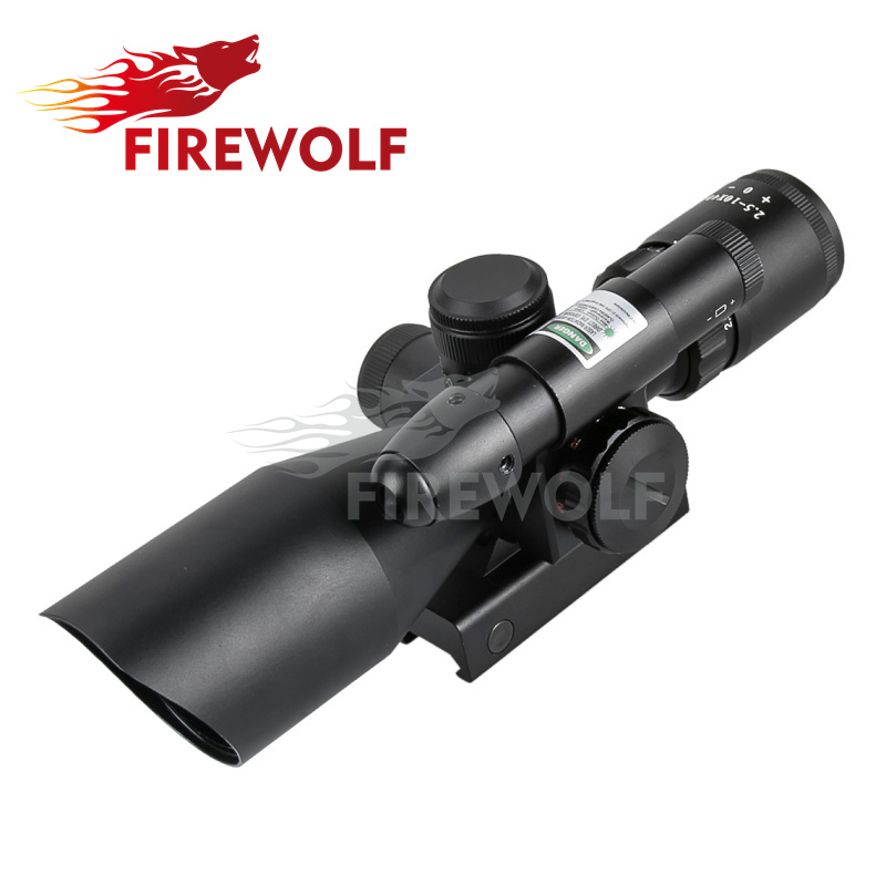 FIRE WOLF 2.5-10x40 Tactical Rifle Scope with Green Laser Weapon Sight with QD 20mm Weaver Mount Riflescope Free Shipping xl nxf rg 5mw green laser gun sight w weaver mount led flashlight black 3 x cr 1 3n