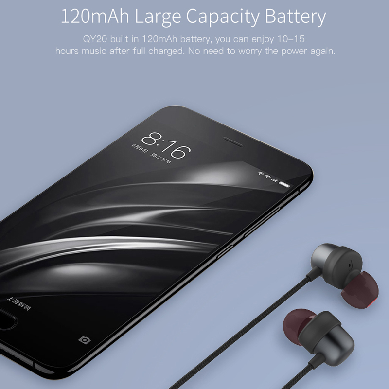 QCY QY20 Bluetooth V4.2 Wireless Earphone IPX5-Rated Sweatproof Sport Headset With Microphone 6