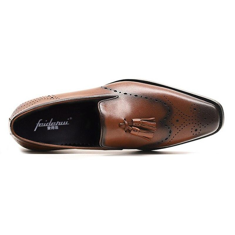 Apontou Das Flats Ss390 Mocassins Deslizamento Do Esculpida Sapatos Genuíno De Respirável Asas Formal Dos Vintage Preto Toe Brogue Nas Vestido Homens marrom Homem Em Couro Pontas zZBOnqUq