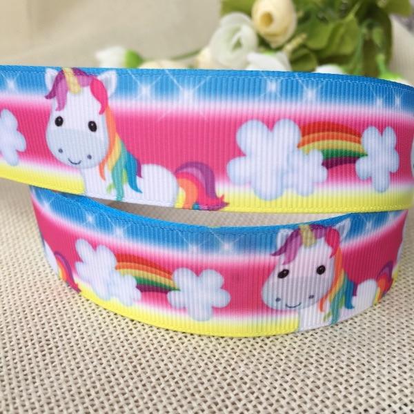 1 «25 мм-38 мм Kawaii Бесплатная доставка милые rainbow Unicorn животные с печатным рисунком корсажная лента ленты поделки ручной работы материалы